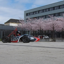 BTU Campus with a racing car of the BTU motorsports department.