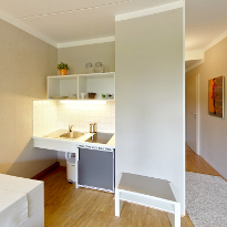 A view of the show apartment: the pantry kitchen.